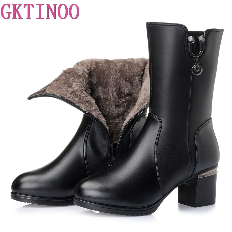 GKTINOO Women's Winter Boots Plush Warm Shoes Woman Square High Heels Soft Leather Shoes Platform Snow Boots Footwear Botas недорого