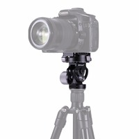 PULUZ 2 Way Pan/Tilt Tripod Head Panoramic Photography Head with Quick Release Plate & 3 Bubble Level for DSLR Camera Tripod