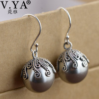 V YA 925 Sterling Silver Jewelry Vintage Drop Earrings Women Wedding Party Gray Simulated Pearl Dangle