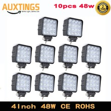 10Pcs 4Inch 48W Led Verlichting Lamp Auto 4X4 Atv Led Werklampen Truck 12V Driving Fog Spotlights Tractor Offroad Lichten
