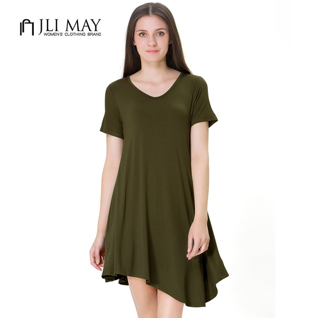a6a2dbfce695 JLI MAY casual Asymmetrica T-shirt dress women loose summer Solid Navy  green Red black mini O-Neck Short sleeve dresses