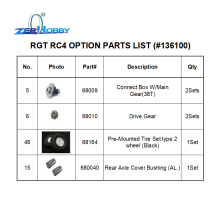 HSP RC CAR SPARE PARTS ACCESSORIES REPLACEMENT FOR 1/10 ROCK CRAWLER MODEL 136100 WITH 4 ITEMS