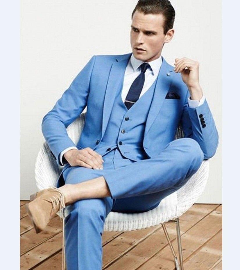Beau Frais Terno Sur Mesure Mode Hommes Costumes Slim Revers Cran un Bouton Ciel Bule Veste Pantalon Gilet Marine Bule Cravate mouchoir