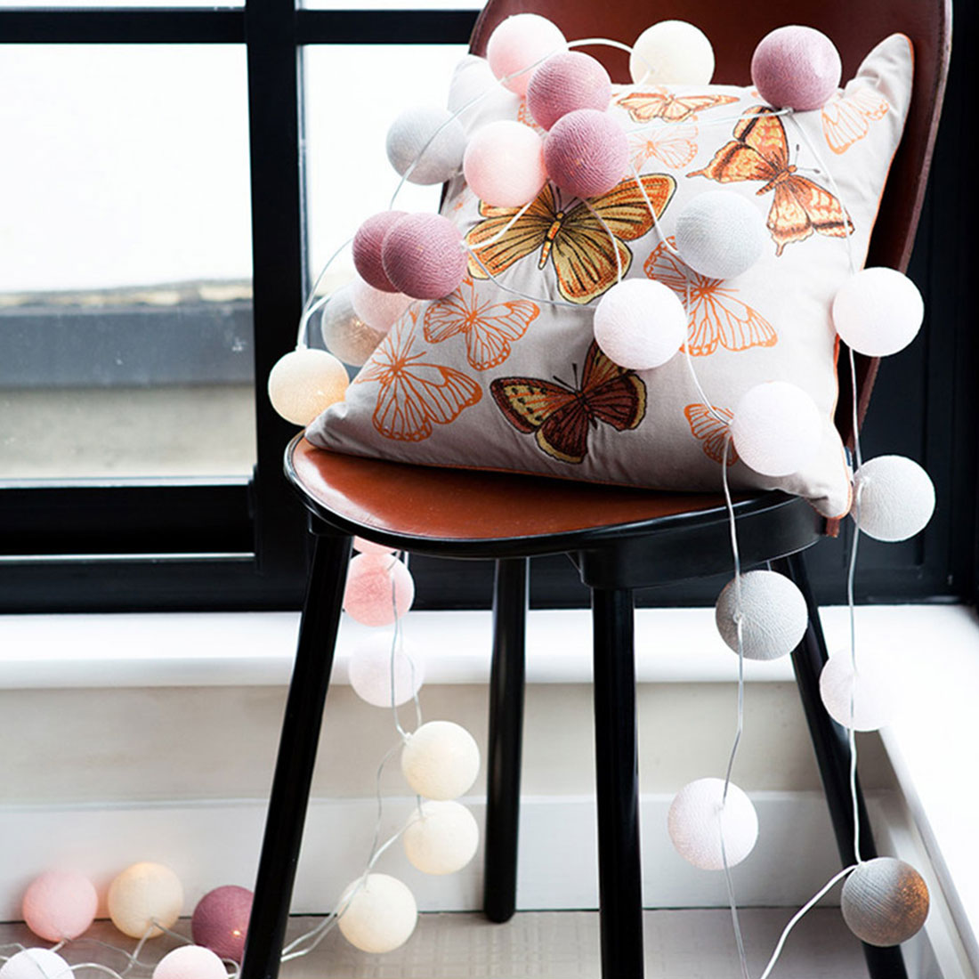 Cotton Ball Decorative String Light Handmade Diy Thread 20