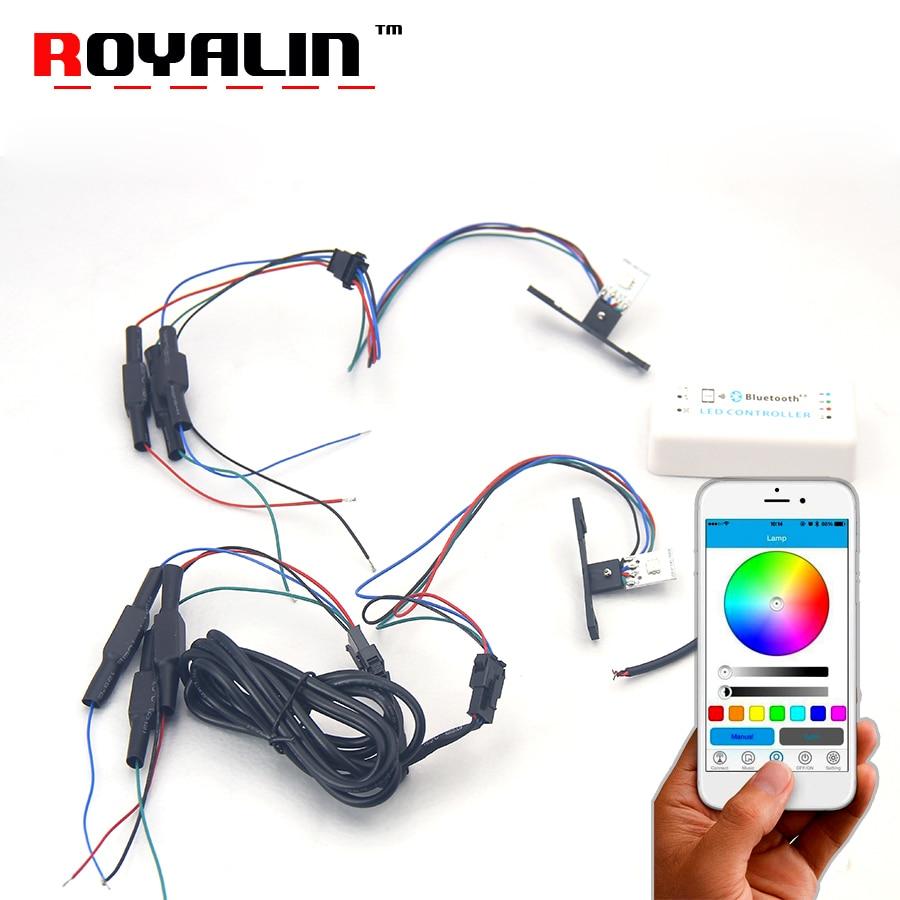 ROYALIN Multi Colors 360 Demon Eyes APP 2.5 LED RGB Devil Eyes For Head Light Projector Lens Retrofits Voice Phone Controlling