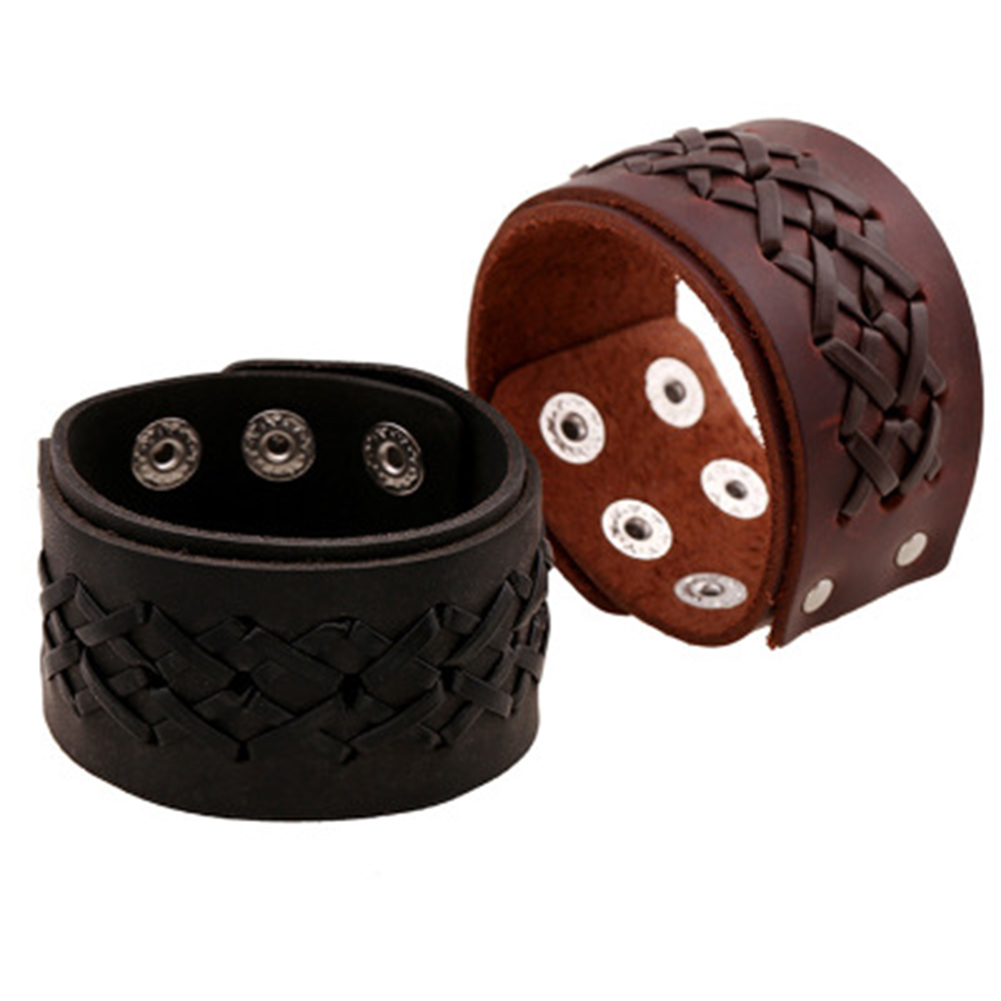 2018 New Fashion Style Vintage Weave Braided Leather Bracelet Fashion Wide Cuff Bracelet for Men Punk Jewelry Best Gifts