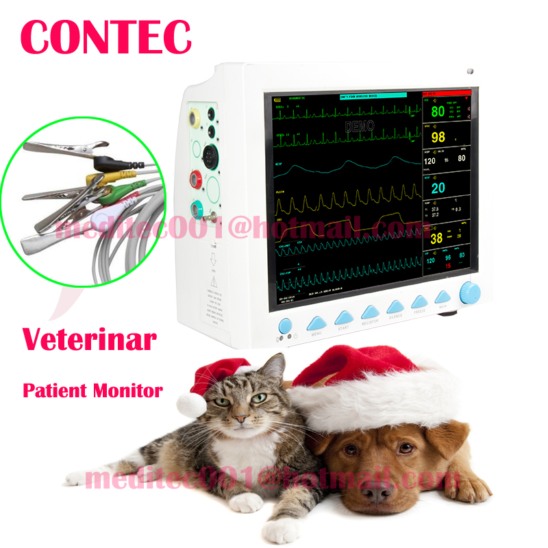 ectronics CE&FDA Veterinary ICU vital Signs Patient monitor,6 parameters,CONTEC CMS8000VET usa fedex icu patient monitor co2 vital signs monitor 6 parameters etco2 stand