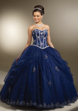 Navy Blue Quinceanera Dresses Appliques Beading Ball Gown Quinceanera Dresses Lace Up Back Tulle Formal Quinceanera Dresses