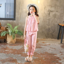 Girls Clothing Sets Fashion Summer Kids Sleeveless Shirt + Pants Girls Clothes Sets Outfits 8 10 12 14 Years Children Suits