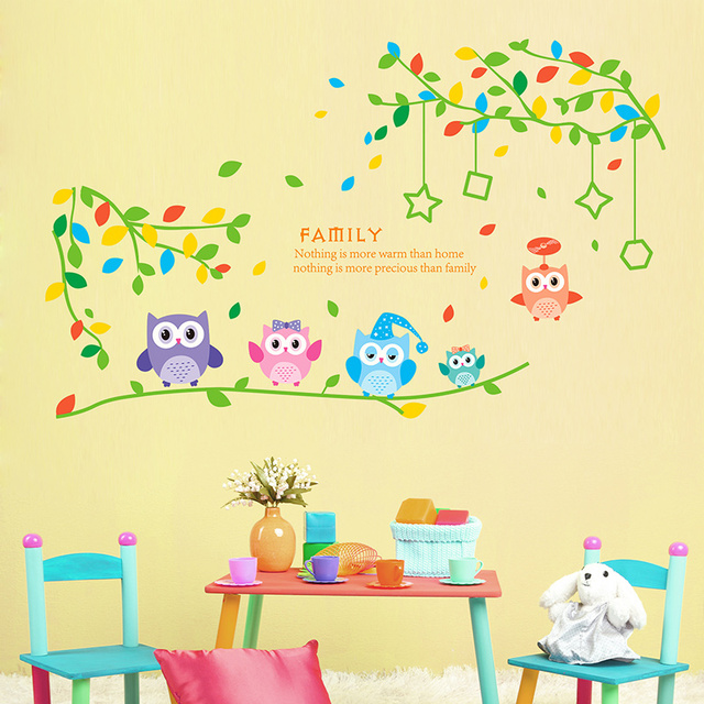 SHIJUEHEZI] Snowy Night Owl Wall Stickers Waterproof DIY Animal Wall ...