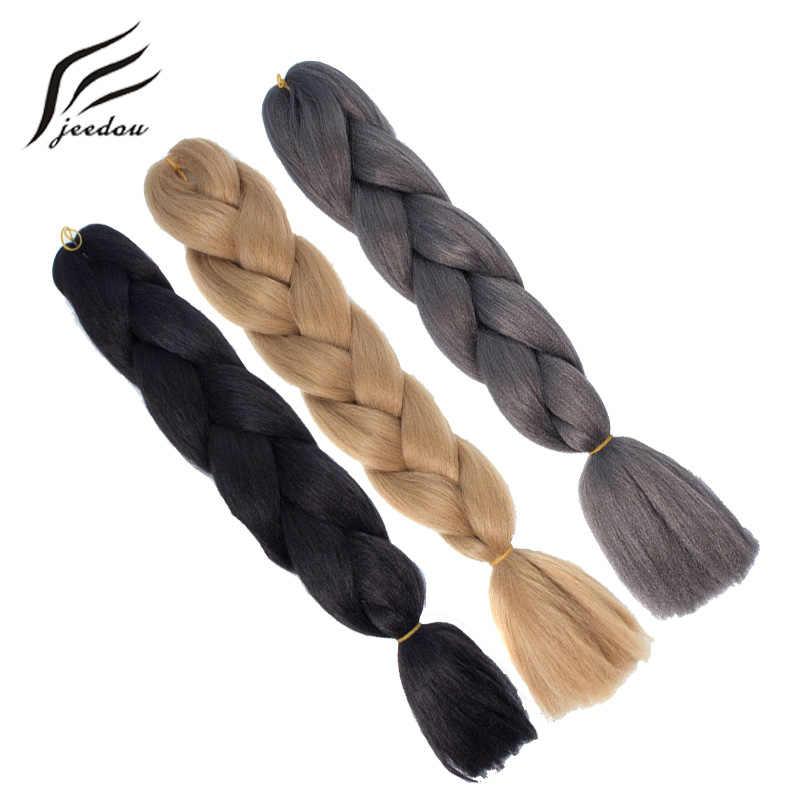 """Jeedou, на крючках, косички, натуральные синтетические волосы длиной 24 """"100 г/лот синий розовый цвет DIY плетение прически творчества, парик, заколки, заколки для волос, трессы, заколки"""