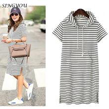 SINGYOU Women Dress Summer Cotton Straight Pocket Female Striped Hoodies Sweatshirts Big Size Women Casual Long Dress Oversize
