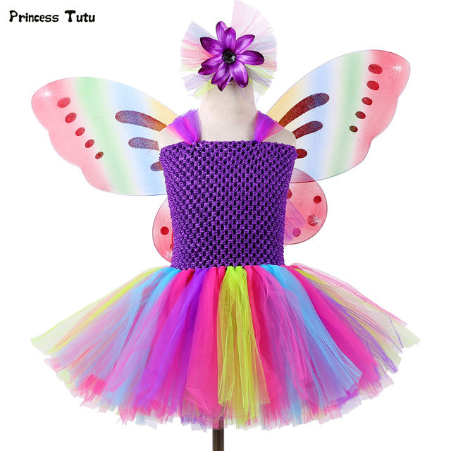 1 Set Girls Rainbow Fairy Tutu Dress with Wings Princess Kids Girl Party Dress Halloween Butterfly Cosplay Girls Fancy Costumes