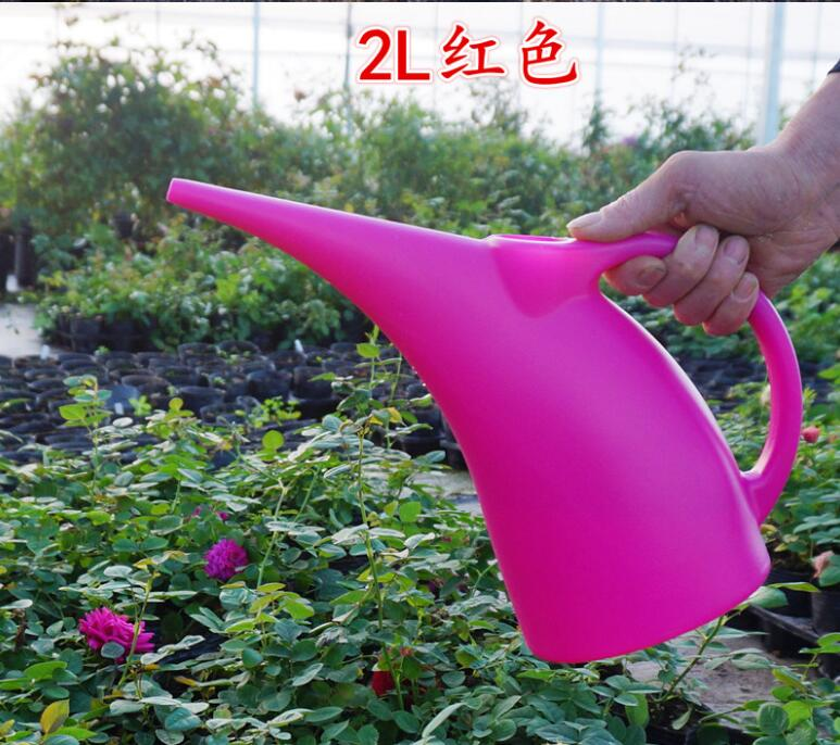 Lovely Green or Dark Pink Long Nozzle 2L Plasitc Water Cans for watering