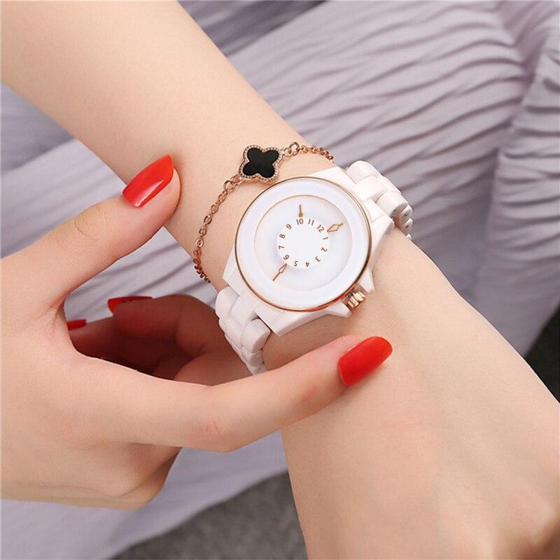 2018 Creative Ceramic Quartz Watch Women Fashion Ladies Wrist Watch Dress Luxury Brand Wristwatches Water Resistant Montre Femme