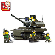 Sluban model building kits compatible with lego city tank 413 3D blocks Educational model building toys