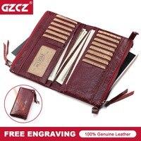 GZCZ Card Holder Women Wallet Female Genuine Leather Zipper Purse Portomonee Walet Lady Gift Long Handy