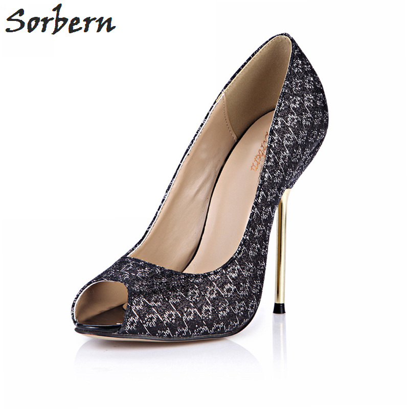 Sorbern Black Glitter Shoes Women Open Toe Slip On Pumps Stilettos Customized Red Bottoms For Women Heels Nude Gold Heel Shoes sorbern nude flat heel pointed toe women shoes rivets slip on spring shoes for women 2017 women flat shoes custom soulier femme