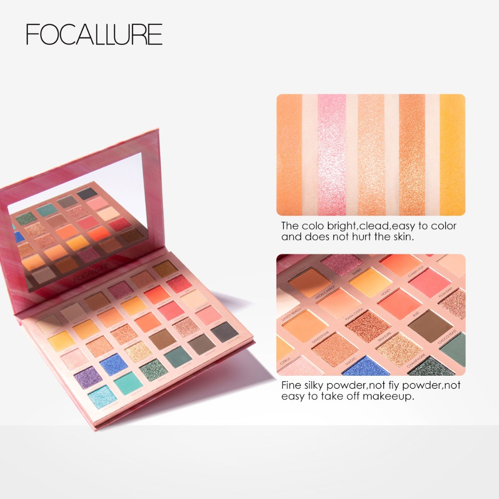 Beauty Essentials Focallure 30 Colors Eyeshadow Palette High Quality Brand Smooth Glitter Matte Powdery Shades For Daily Party Makeup Pallete