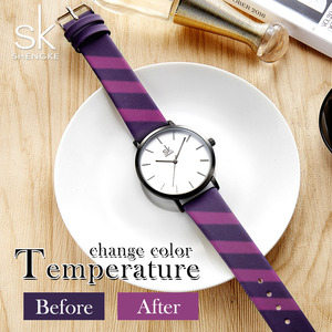 Image 4 - Shengke ファッション女性のクォーツ時計女性クリエイティブストラップ色を変更時計アナログレディースドレスジュネーブ腕時計リロイ Mujer
