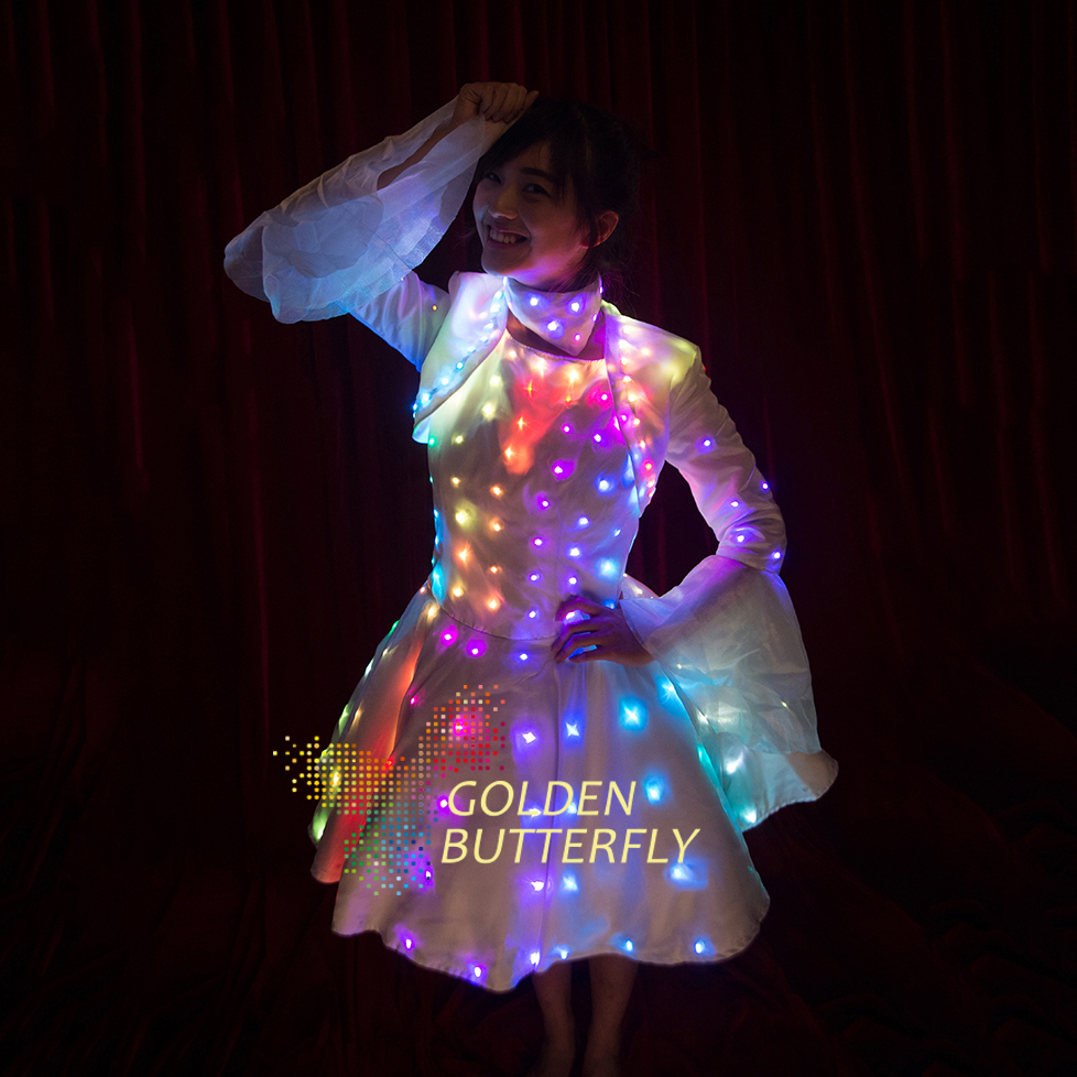 led dress illuminated butterfly sleeve clothes led light clothing lady luminous costumes glowing. Black Bedroom Furniture Sets. Home Design Ideas