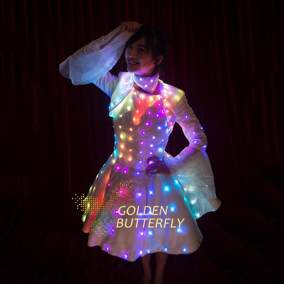 LED Kleid Beleuchtet Schmetterlingshülse Kleidung LED Licht ...