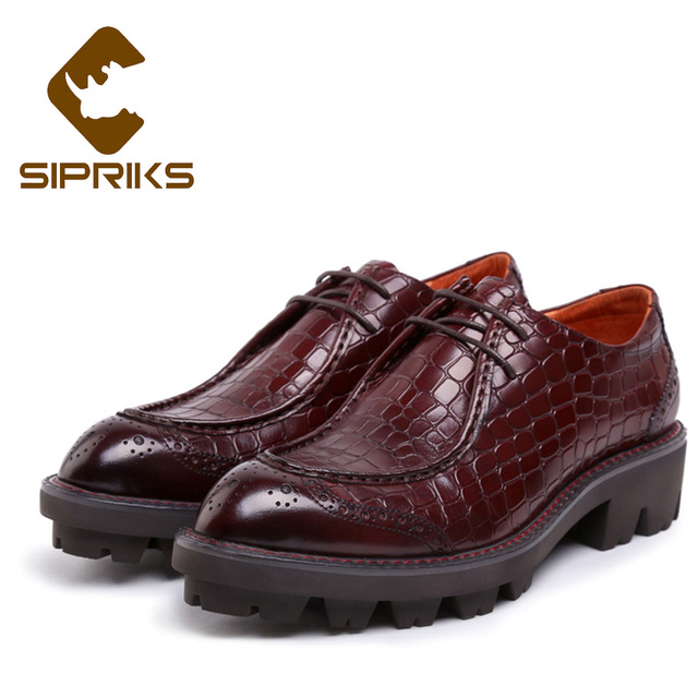 Sipriks Men Elevator Shoes Thick Rubber Sole Dress Shoes Real Leather Red  Brown Mens Topsiders Luxury British Style Formal Shoes 8a9c09780f7