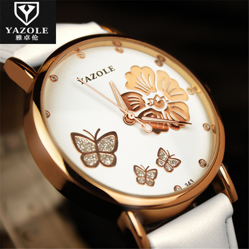Simple Sweet YAZOLE Women Watches Camellia Butterfly Wristwatch Leather Casual Quartz Girls Ladies Colock Gift Wedding