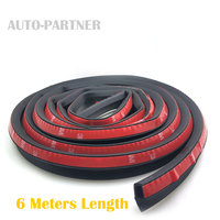 6 Meters P type car sound insulation sealing rubber strip anti Noise Rubber weatherstrip 3m Sticky Tape car door seal
