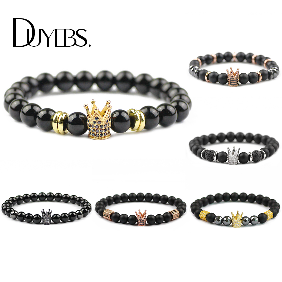 DUYEBS Crown Copper Men Charm Bracelet 8mm Matte black Stone Beads Pave CZ Elastic Rope Women Trendy Bangle Jewelry Dropshipping