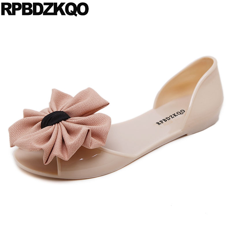 898b7e77341a Ladies Transparent Nude Summer Women Sandals Flat Casual Jelly Plastic  Kawaii 2018 Pvc Shoes Slip On Nice Bowtie Open Toe Bow