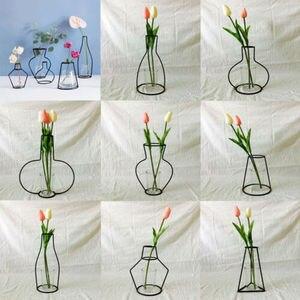Image 2 - Creative Art Style Retro Iron Line Flowers Vase Metal Plant Holder Modern Solid Nordic Styles Iron Vase Home Art Garden Decor