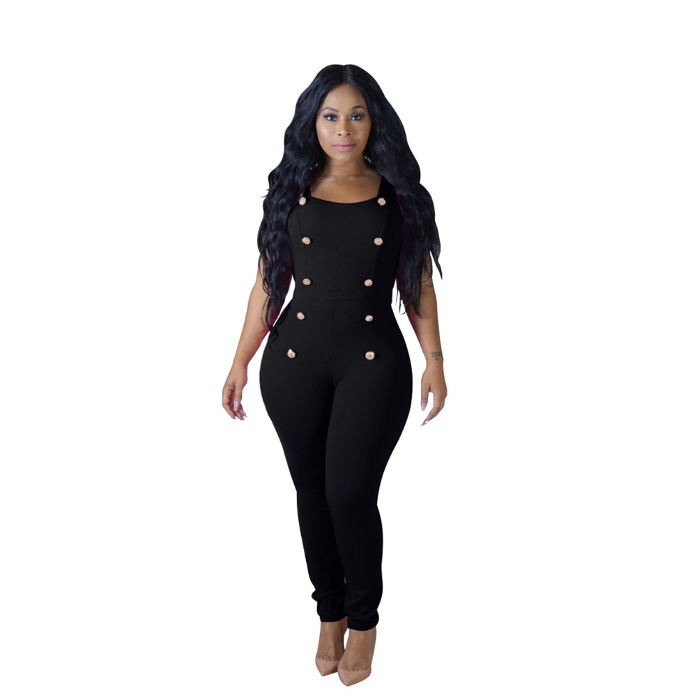 Women Double Breasted Square Collar Bodycon Jumpsuit Sleeveless Buttons Work Club One Piece Bodysuit Macacao Feminino