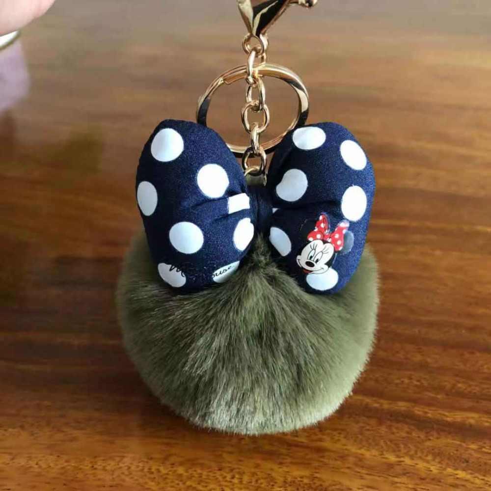 2019 moda imitado coelho pele mickey pompon bola chaveiro para as mulheres para o carro ou saco chaveiro jóias titular da chave 022wa
