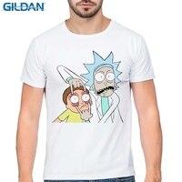 GILDAN Summer New Anime Cool Rick Morty Print Men T Shirt Peace Among Worlds Folk T