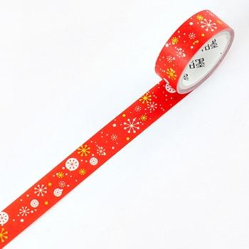 1.5cm 3m 1 pcs red Christmas style washi tape Adhesive DIY Scrapbook Sticker Label Masking home decor