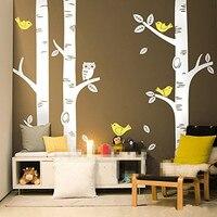 AWOO Sevimli Baykuş Kuşlar Huş Ağacı Duvar Sticker Çıkartması Duvar Kağıdı Duvar Kreş Bebek Orman Ev Arka Plan Dekorasyon 250*250 CM