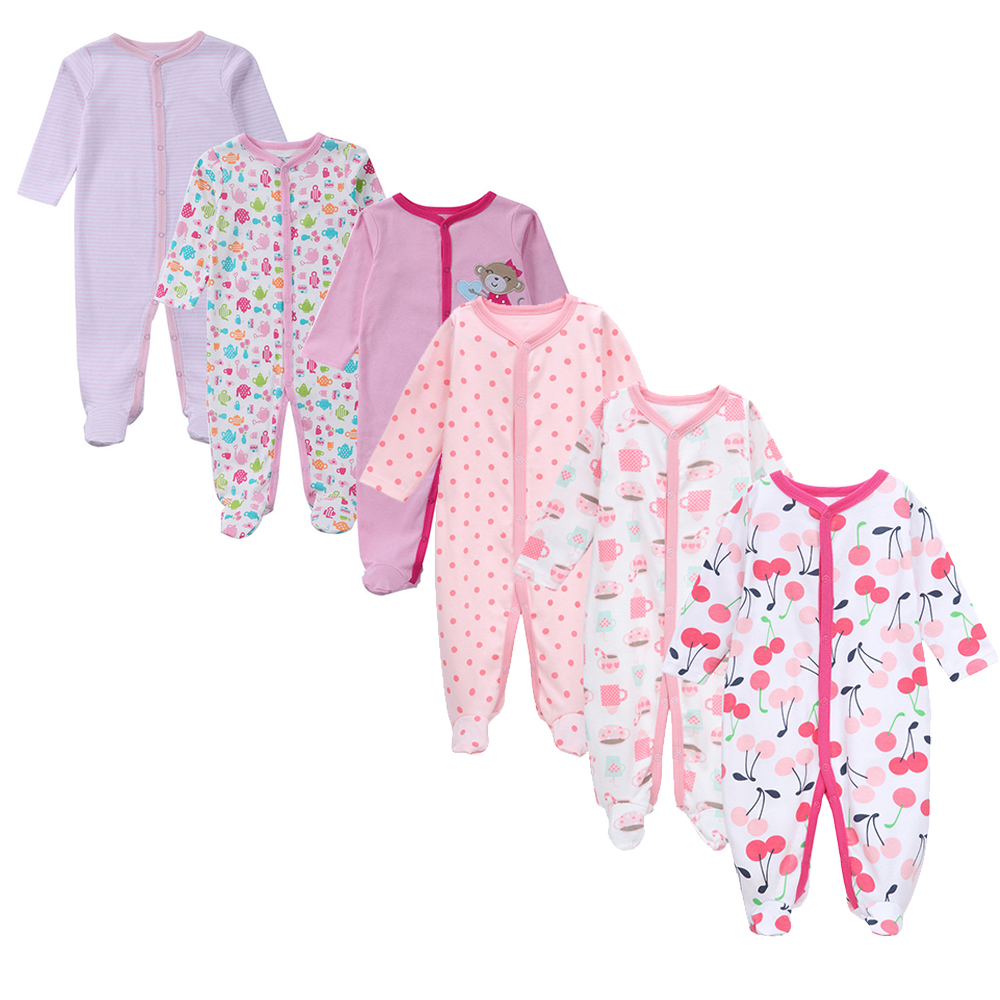 Brand Fashion 6 Pcs/Lot Cotton Baby Girls One Piece Jumpsuit Summer Cartoon Long Sleeve New Born Onesie Outfits Baby Clothing