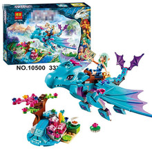 214pcs set The Water Dragon Adventure Building Bricks Blocks DIY Educational toys Compatible Legoe Elves