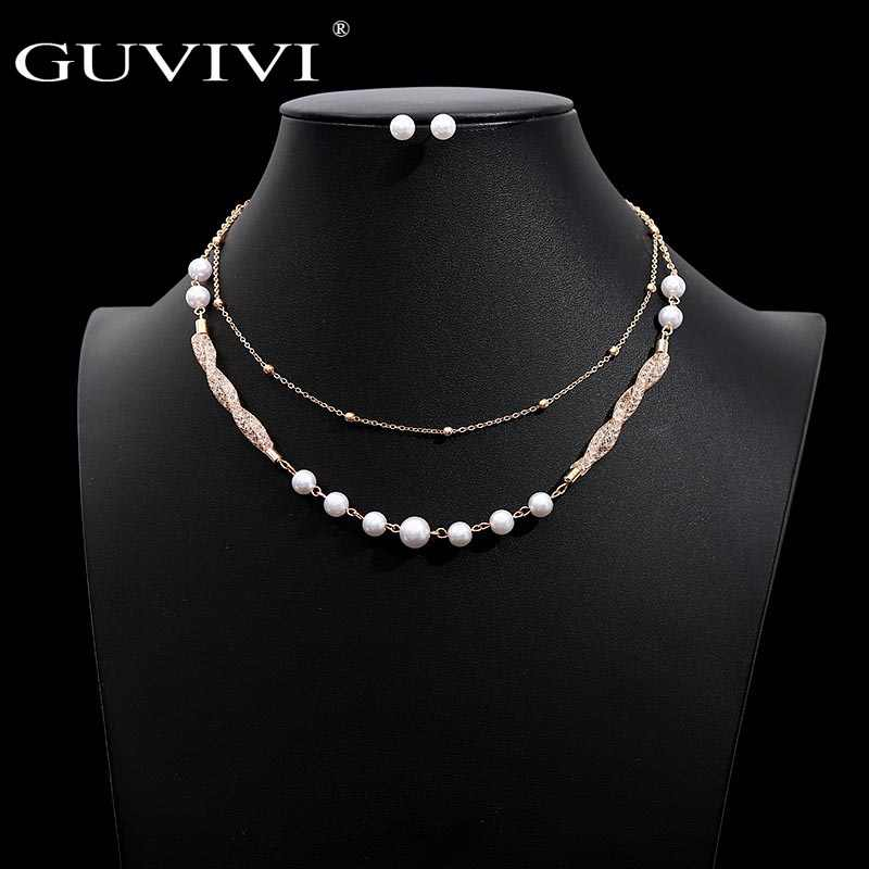 Fashion Imitation Pearl Beads Jewelry Set Gold Color Layers Collares Earring Stud Set Wedding Bridal Jewelry Sets for Women
