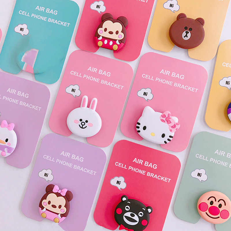 NEW 1PC Universal mobile phone bracket Cute unicorn air bag Phone Expanding Stand  Finger Holder mickey 5c6499d00ee6