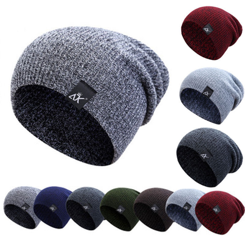 Hirigin Men's Winter Hat Knitted Wool Beanie Female Fashion Casual Outdoor Mask Ski Caps Thick Warm Hats For Men Czapka Zimowa