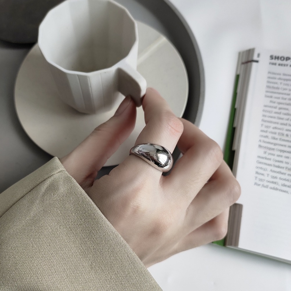 Minimalist Authentic S925 Sterling Silver FINE Jewelry Irregular Convex Glossy Smooth Rounded Ring Adjust TLJ583