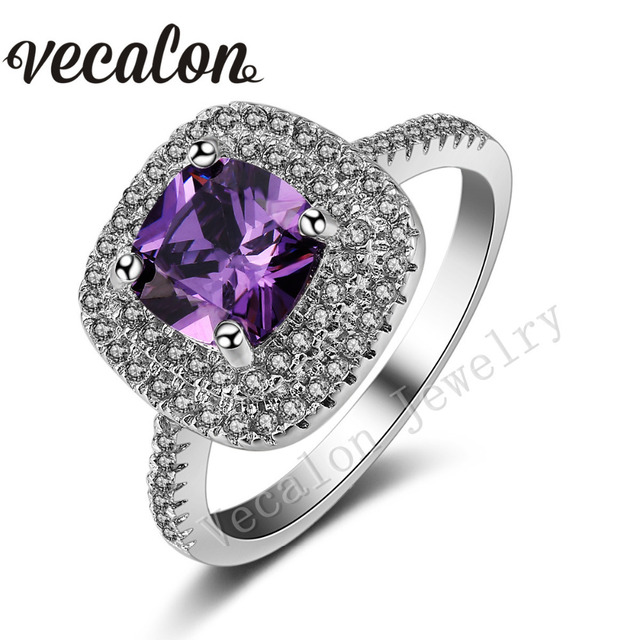 Vecalon 2016 Подушка Cut 3ct Аметист Имитация алмазный Cz Стерлингового Серебра 925 обручальное кольцо Обручальное кольцо для женщин Sz 5-11