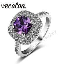 Vecalon 2016 Cushion Cut 3ct Amethyst Simulado diamond Engagement wedding Band anillo Cz 925 Plata Esterlina para las mujeres Sz 5-11