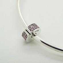 Elegancia brillante Clip de Color Rosa CZ Beads Adapta Pandora Charms Bracelet Crystal Beads Clip Para Fabricación de La Joyería 925 de Plata Esterlina Encanto