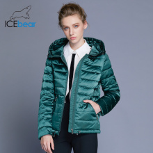 ICEbear 2018 New High Quality Fashion Woman Jacket Short Winter Women's Hooded Coat Slim Female Parkas Brand Apparel GWD18177D
