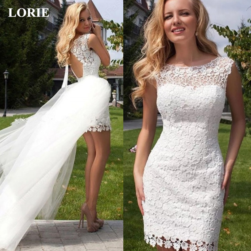 LORIE Wedding Dresses 2019 New Summer Lace Vestido De Noiva O Neck A Line Detachable Train