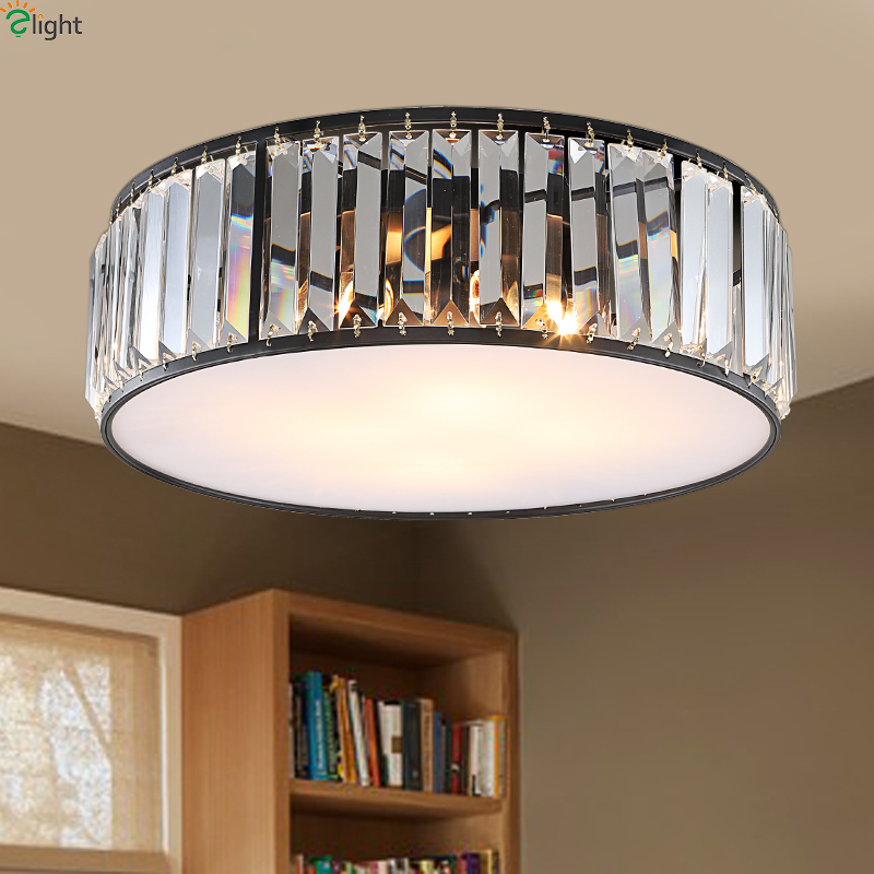 American Lustre Crystal Led Ceiling Lights Round Metal Bedroom Led Ceiling Light Glass Living Room Led Ceiling Lamp Fixtures american retro iron e27 led ceiling lights lustre glass bedroom led ceiling lamp balcony led ceiling lighting light fixtures