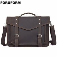 Briefcases 100% Genuine Leather Men Messenger Bags New Fashion Male Shoulder Portfolio 14 Inch Laptop Bag Case Handbag LI 1972